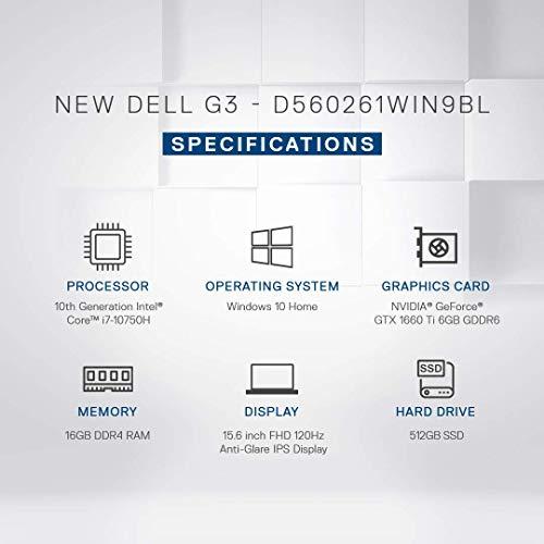 Dell G3 3500 15.6 Inch Gaming Laptop (10th Gen i7-10750H/16 GB/512 SSD/GTX 1660 Ti 6GB/1Yr Premium/Win 10/MS-Office H&S 2019) D560261WIN9BL