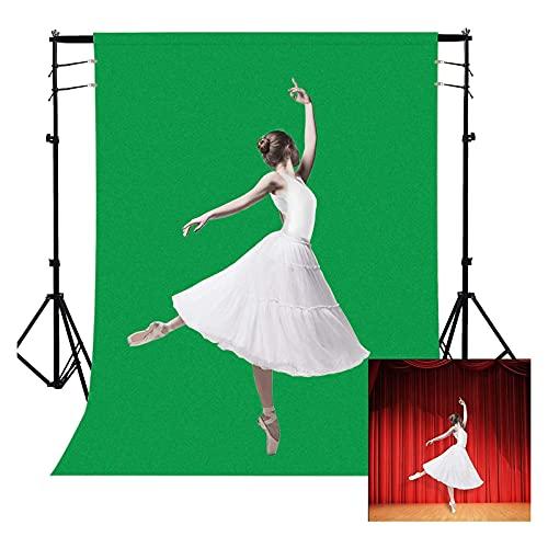 1,5 x 2m Green Screen Fotostudio Hintergrund, Dioxide Faltbare Grüne Tuch Background Reiner Musselin Faltbar für Fotografie, Video, Zoom, Online-Meetings