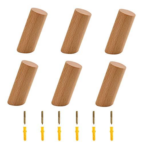 PROVO Lote de 6 ganchos de madera de roble macizo para colgar ropa, sombrero, bufandas en dormitorio, sala de estar, decoración de pasillo