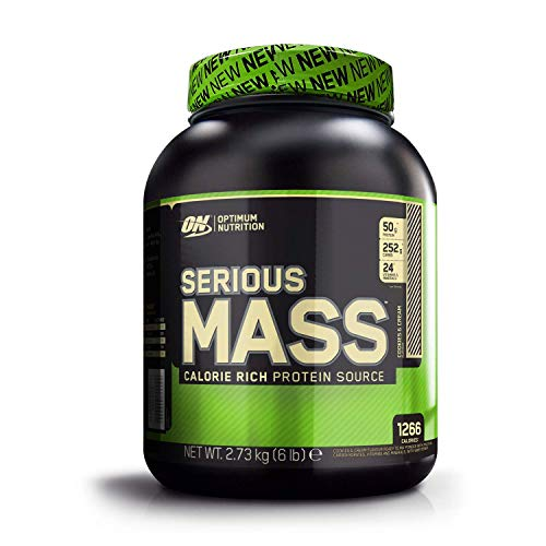 Optimum Nutrition ON Serious Mass Hochkalorisches Weight Gainer Protein Pulver, Whey Protein, Vitamine, Kreatin und Glutamin, Cookies & Cream, 8 Portionen, 2,73kg, Verpackung kann Variieren