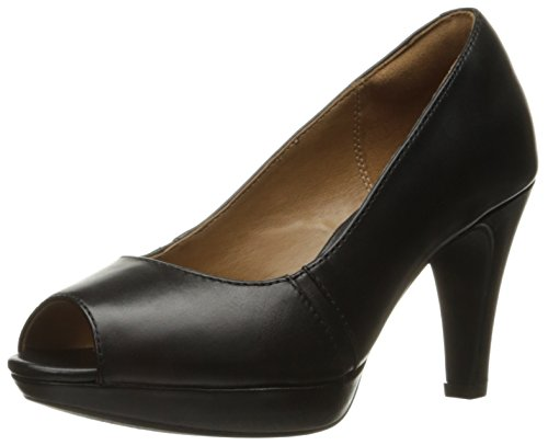 CLARKS Women's Narine Rowe Platform Pump, Black Leather, 8 W US