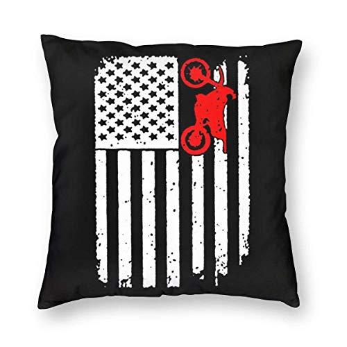 485 Usa Flag Dirtbike Motocross Pillow Cover Soft Pillowcase Customized Throw Cushion Case For Camping Car Chair 45X45Cm Pillow Case