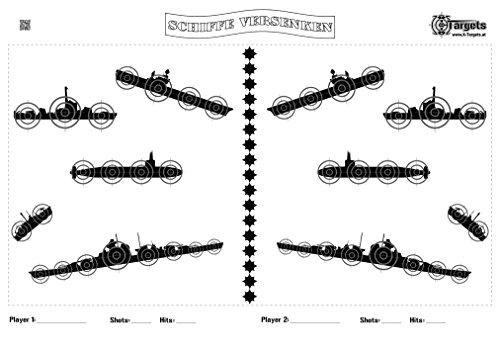 X-Targets Große Zielscheiben Schiffe versenken / 53x84 cm/Papier 120g/m² (5 Stück)
