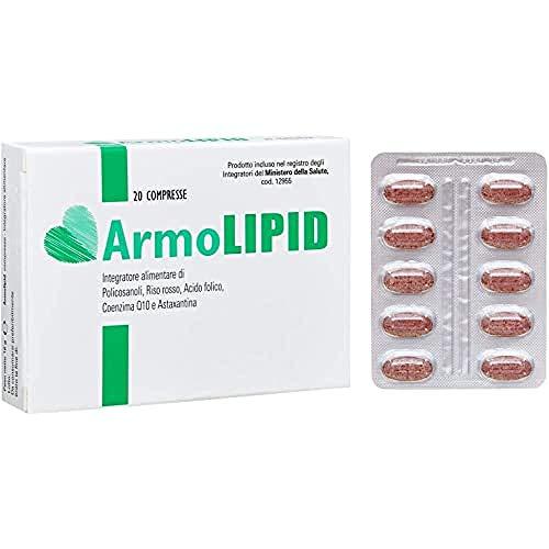 Armolipid integratore alimentare con Policosanoli, Riso rosso fermentato, Acido folico, Coenzima Q10 e Astaxantina 20 compresse