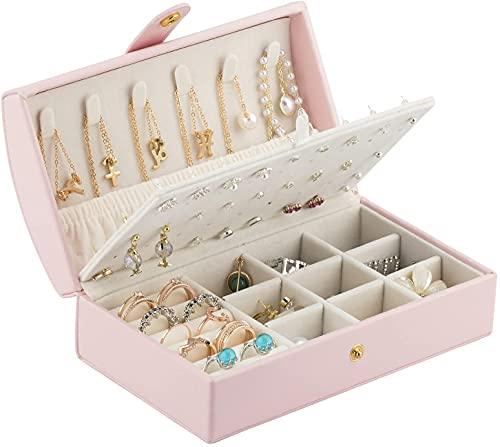 Recet Joyero de viaje para mujer, de piel sintética, para anillos, pendientes, collar (rosa)