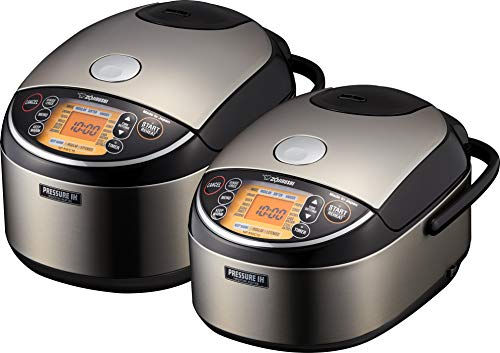 Zojirushi NP-NWC10XB Pressure Induction Heating Rice Cooker & Warmer, 5.5 Cup, Stainless Black, Made in Japan