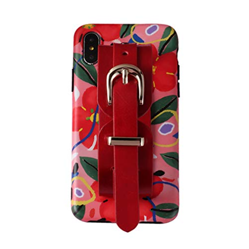 Funda Silicona para iPhone 7 Plus/iPhone 8 Plus con Pulsera Ancha de Cuero PU Premium, Retro Flor Funda Protectora Antigolpes Suave, Función de Soporte, para iPhone 7 Plus/ 8 Plus, Flower2