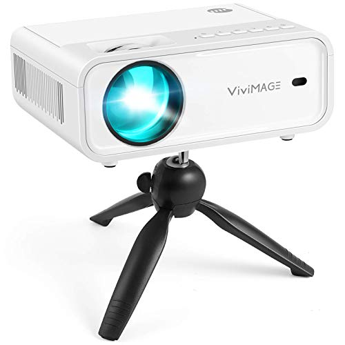 VIVIMAGE Explore 2 Mini Beamer, 4500 Lux Heimkino Beamer, Support 1080P Full HD mit 50000 Stunden LED, kompatibel mit TV Stick, HDMI, USB, VGA, SD, AV, PS4, X-Box, iOS/Android Smartphone Projektor