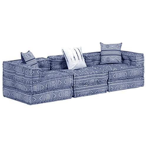 vidaXL, pouf a 3 posti, modulare, per divano, divano, letto, letto degli ospiti, tessuto indaco