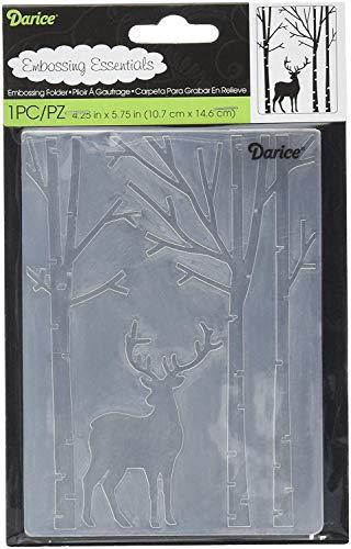 Darice Prägefolder - Schablone, REH im Wald, Plastic, transparent, 10.8 x 14.6 x 0.3 cm