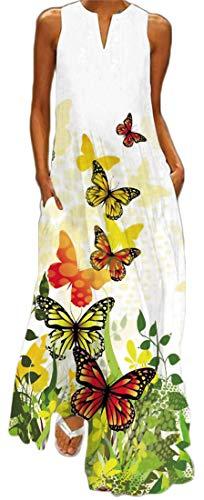 WINKEEY Vestido Maxi para Mujer Estampado Floral Padel Larga Elegante Mariposa Bohemio Vestido de Verano con Bolsillos Sin Mangas Talla Grande, Mariposa Amarilla L