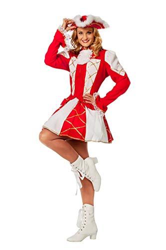 The Fantasy Tailors Tanzmariechen Kostüm Damen Rot Weiß (ohne Hut) Tanzgarde Komitee Kleid Showtanz Karneval Fasching Hochwertige Verkleidung Größe 40 Rot/Weiß