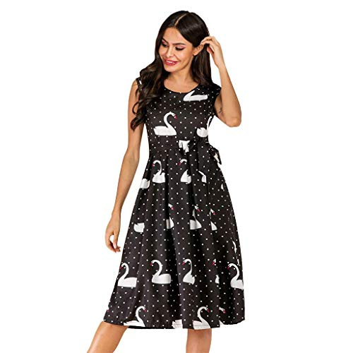 Women's Sleeveless Cocktail A-Line Embroidery Party Summer Wedding Guest Knee-Length Dress,Black,L
