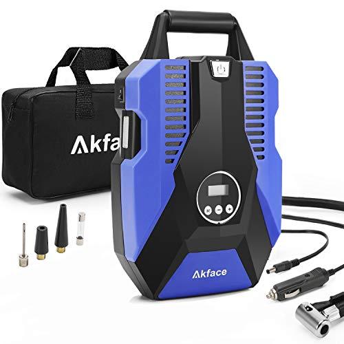 Akface Auto Kompressor,Tragbare Auto Luftpumpe,Kompressor 12V für Autoreifen, mit 150PSI Digitalanzeige Genaue Druckregelung Blau