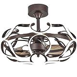 Ventilador de techo DC Motor Ventilador de Techo con Luz LED Ventilador Marrón Claro Sincronización Remota 6 Vortex Velocidad del Ventilador Palas for Sala de Estar Dormitorio Comedor Luces de ventila