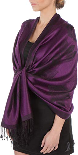 Sakkas Two Tone Rose Pashmina Scarf/Stole/Wrap - Lavender/Purple