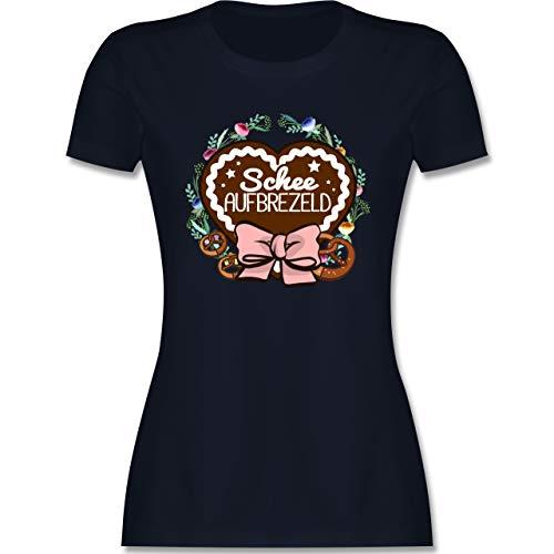 Oktoberfest & Wiesn Damen - Schee aufbrezeld Lebkuchenherz - XXL - Navy Blau - Oktoberfest - L191 - Tailliertes Tshirt für Damen und Frauen T-Shirt