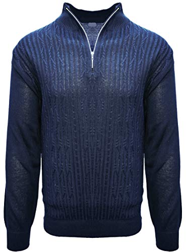 STACY ADAMS Men's Sweater, Solid Cable Knit Twist (X-Large, Navy)