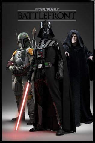 1art1 Star Wars Póster con Marco (Plástico) - Battlefront, Darth Vader, Boba Fett, El Emperador (91 x 61cm)