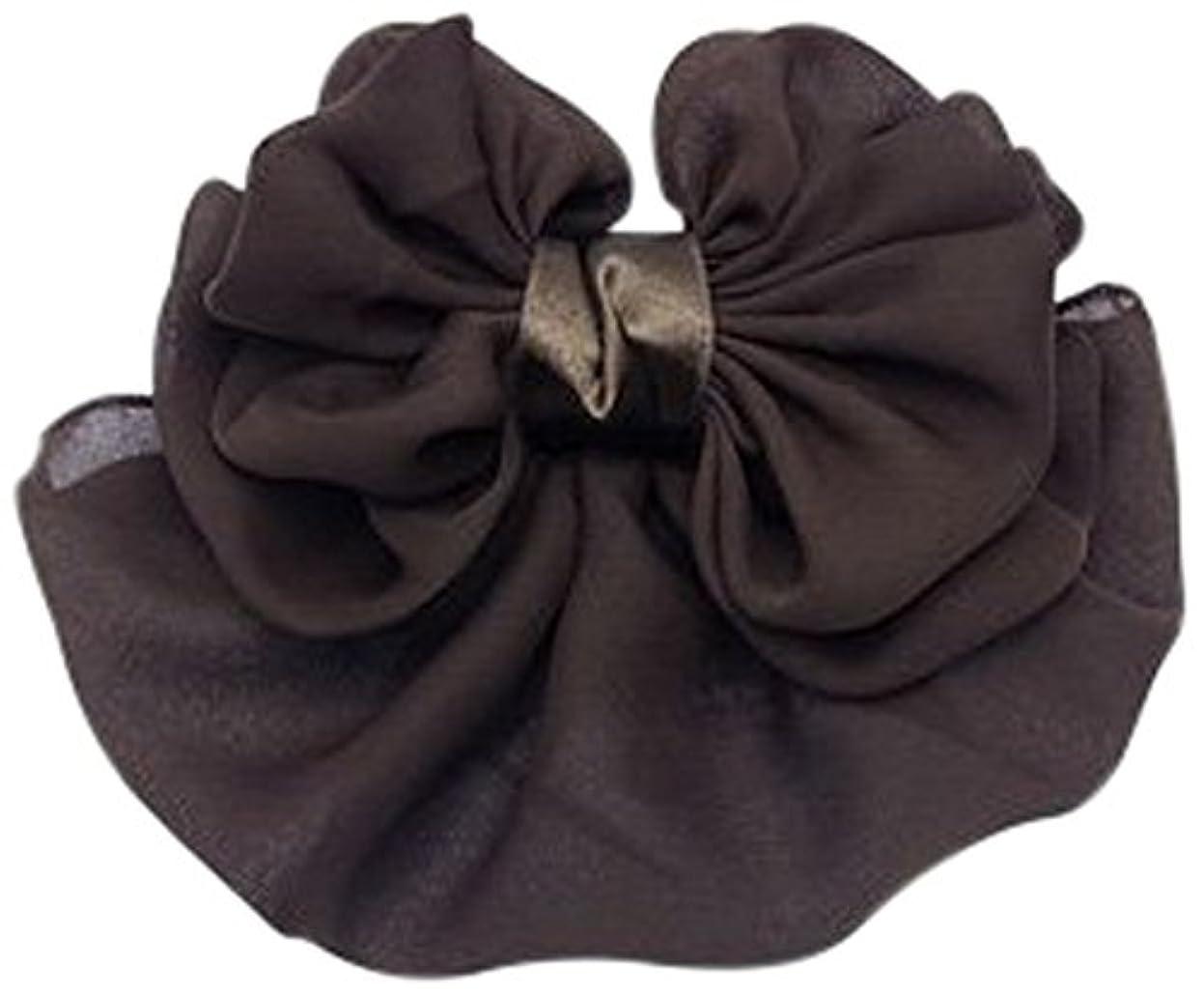 境界一致する悲劇的な美人髪 リボン バレッタ(ネット付) もこもこリボン/カバー付