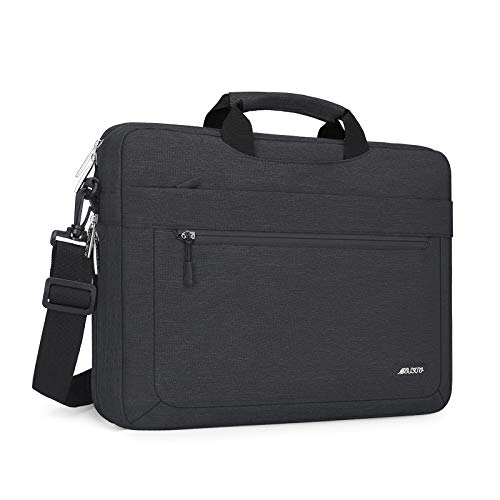 MOSISO Laptop Shoulder Bag Compatible with MacBook Pro 16 inch A2141, 15-15.6 inch MacBook Pro, Notebook, Polyester Messenger Carrying Briefcase Sleeve with Adjustable Depth at Bottom, Space Gray