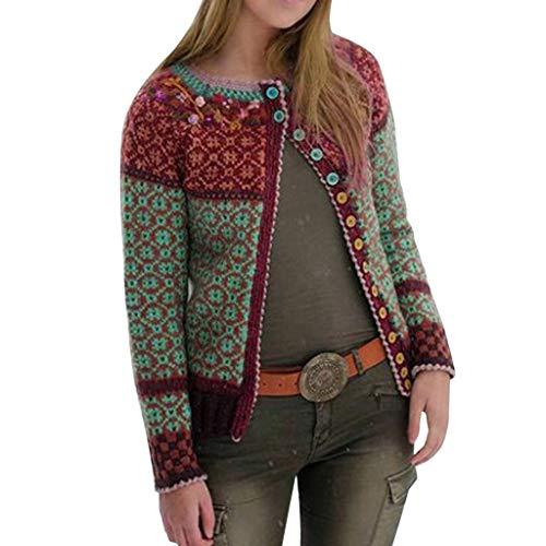 Damen Cardigan Kurz Winter Multicolor Print Knöpfe Lace Cardigan Langarm Langmantel