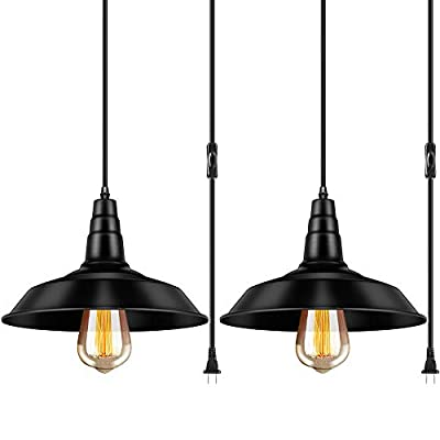 Industrial Hanging Pendant Light E26 Vintage Light Fixture with Plug in Cord and On/Off Switch for Kitchen Office, Bedroom, Dining Room, Restaurant,Warehouse 2 Packs