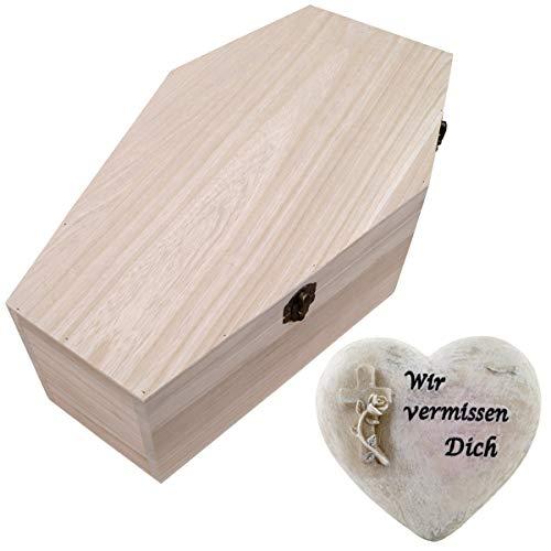 PrimoLiving Haustiersarg aus Holz P-723 Gr. XL + Grabschmuck Herz
