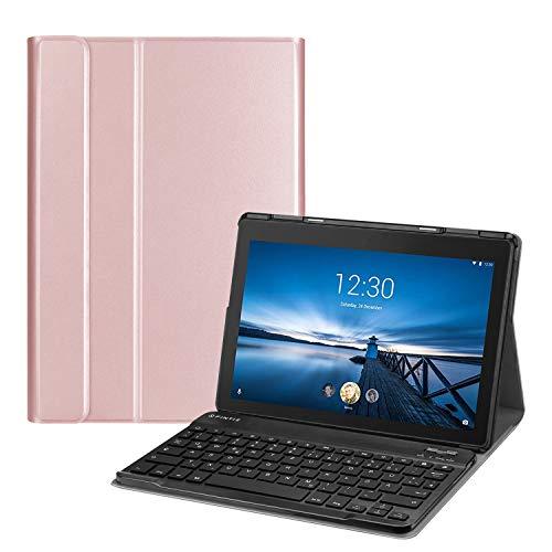 Fintie Tastatur Hülle für Lenovo Tab E10 TB-X104F 10,1 Zoll Tablet 2019 - Superdünn Ständer Schutzhülle mit magnetisch abnehmbar drahtloser Deutscher QWERTZ Bluetooth Keyboard, Roségold