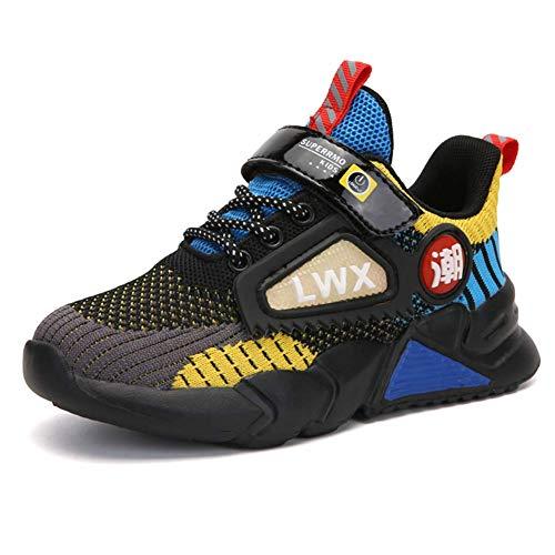 Kinder Schuhe Sportschuhe Jungen Klettverschluss Turnschuhe Mädchen Laufschuhe Outdoor Wanderschuhe Atmungsaktiv rutschfest Gelb Größe 29