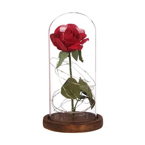 FrCOLOR Rosa Galáxia de Bela e Fera Rosa em redoma de vidro com cordão de luz LED para aniversário de aniversário feminino (base marrom)