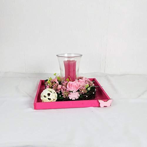 Moderne Tischdeko in pink mit Glaswindlicht, ganzjährig, Tischgesteck
