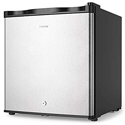 hOmelabs Upright Freezer - 1.1 Cubic Feet Compact Reversible Single Door Vertical Freezer with Child Door Lock - Table Top Mini Freezing Machine with Removable Shelves for Office Dorm or Apartment