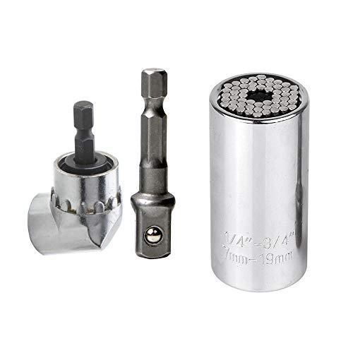 KKmoon Universele dopsleutel, adapter voor boormachine, set van 7 mm tot 19 mm en 105 graden, adapter voor boring met een rechte hoek, professioneel reparatiegereedschap