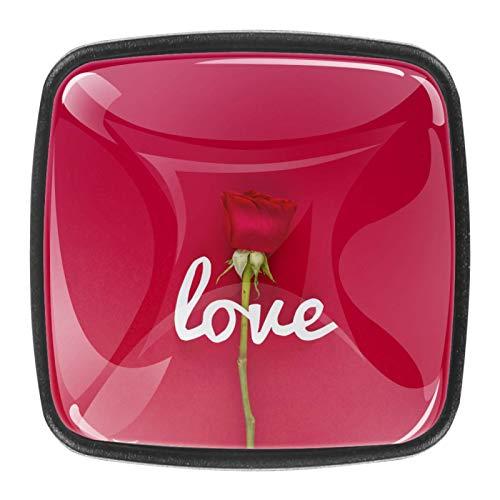 Carta de amor con flor rosa sobre fondo rojo Perillas de extracción de para gabinetes, armarios, puertas y cajones de muebles: se venden como un paquete de 4 perillas