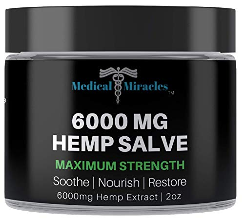 Medical Miracles Hemp 6000 Mg Maximum Strength Healing Salve   Ideal for Hips, Joints, Neck, Back, Elbows, Fingers, Hands, and Knees Made in USA