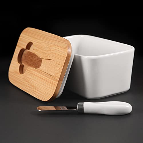 Butter Dish with Lid Ceramic Butter Box with Knife Butter Holder for Large...