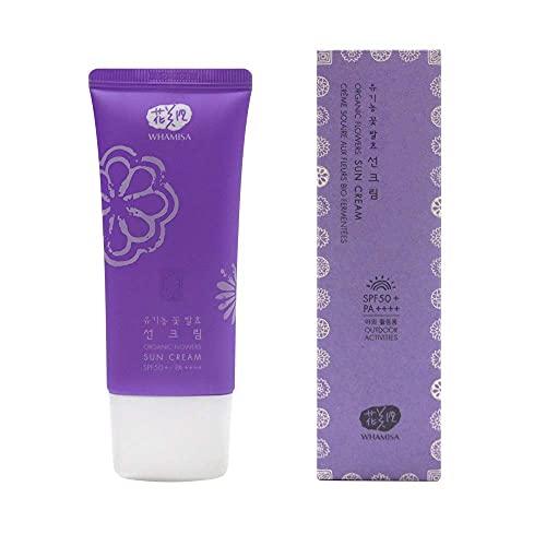 WHAMISA Organic Flowers Sonnencreme SPF 50 - Fermentierte koreanische Naturkosmetik | Anti Aging | Frei von Mikroplastik | Vegan | K Beauty - 60ml