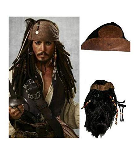 RedJade Pirates of The Caribbean Jack Sparrow Peluca & Sombrero & Barba Cosplay Wig para Disfraz