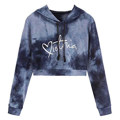 TWIFER Damen Hoodie Letter Tie Gefärbt Bedruckt Crop Pullover mit Kapuze Sweatshirt