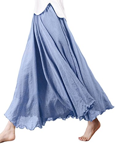 Damen Baumwolle Lange Rock Tellerrock Maxirock Doppelt Genäht Elastischer Bund - Einfarbig Jeans Blau Länge 85cm
