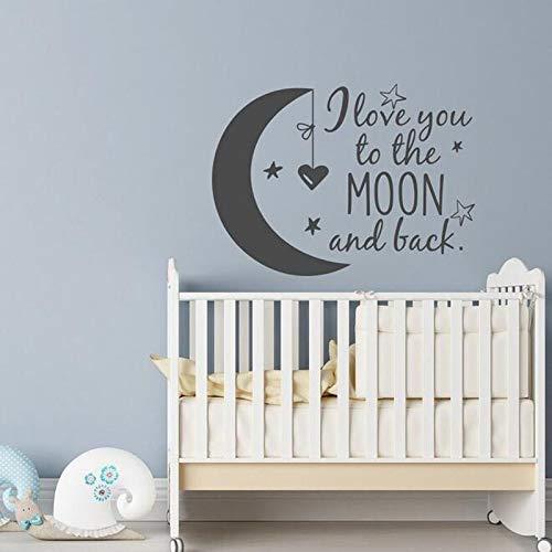 sxh28185171 Baby Kinder Schlafzimmer Wandaufkleber Mond Sterne Herz Zitate entfernbare Vinyl Aufkleber Ich Liebe Dich zum Mond und gehe nach Hause Wandbild42x60cm