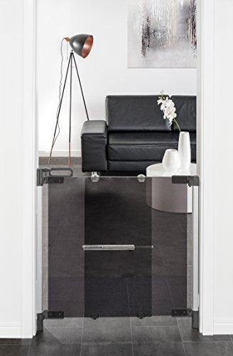reer Grille de porte et d'escalier ClearVision avec vitre en verre acrylique à visser, maintien stable, largeur de passage 74-100 cm.