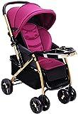 Sillas de paseo El Carro de bebé recién Nacido del niño, Cochecito Compacto Convertible Solo Asiento del Cochecito, la Cesta del almacenaje, Seat de Zona Carritos (Color : Purple)