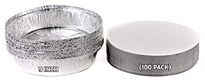 (100 Pack) - 9 Inch Disposable Round Aluminum Foil Take-Out Pans with Board Lids Set - Disposable Tin Containers, Perfect for Baking, Cooking, Catering, Parties, Restaurants by EcoQuality