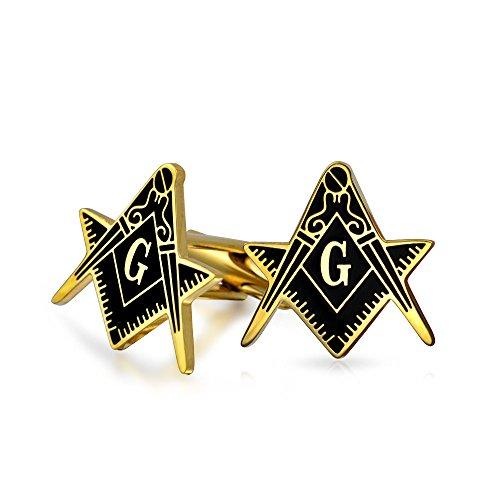 Bling Jewelry Freemasons Compass Symbol Boutons de Manchette maçonnique pour Hommes Émail Noir Deux Tons Argent Ton Acier Inoxydable charnière charniè