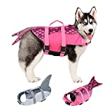 EMUST Dog Life Jacket Mermaid, Ripstop Dog Life Vests with Rescue Handle for Small Medium and Large Dogs, Pet Safety Swimsuit Preserver for Swimming Pool Beach Boating, XS