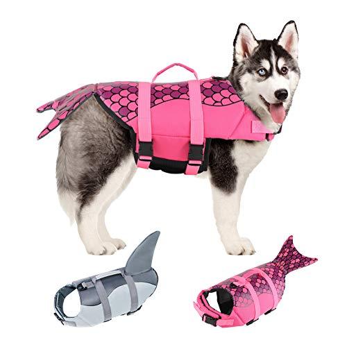 EMUST Large Dog Life Jacket, Dog Mermaid Life Vests for Swimming, Adjustable Dog Flotation Vest Swimsuits with Lift Handle for Small, Medium, Large Dogs, XL