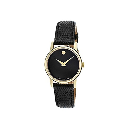 Price comparison product image Movado 2100006 Womens Museum Gold Tone Stainless Steel Case Leather Strap Black Tone Dial Quartz