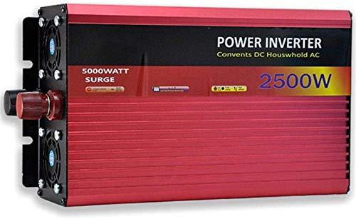 2500W inversores de alta potencia, conversor de voltaje convertidor de inversor de seno con enchufes y conexión USB, DC 12V / 24V / 48V / 60V a AC 220V, adecuado para autos de camiones de coche RV